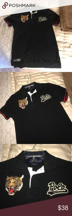 2 Men/boys Polo Ralph Lauren football 14/16 EUC This item is a men's small polo Ralph Lauren custom fit, but fits more like a boys 14/16. 2 for 1. Buy the black one and get the blue one free. It is very unique with tiger and baseball patches on front chest and with red stripes on arm bands and red stripes behind the collar. Gorgeous, hard to find style. My son definitely outgrew these too quickly. Our loss is your gain. No lowballs please. No stains, rips or odors. Both items in excellent…