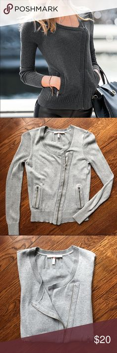 Gray Moto Sweater Jacket Great condition! Gray moto jacket with silver zippers.   No Trading   Reasonable Offers are Always Welcomed Victoria's Secret Sweaters Cardigans