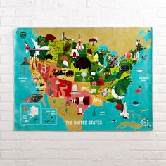 Shop The United States Banner.  Your little one can get acquainted with each state's animal inhabitants and iconic landmarks using our United States Banner.  It's packed with vivid graphics and colors designed exclusively by Paul Davis.