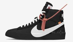 """Off-White x Nike Blazer Studio Mid """"Black"""" Fall 2018 - JustFreshKicks Retro Sneakers, Best Sneakers, All Black Sneakers, Sneakers Nike, Nike Skateboarding, Popular Shoes, Hype Shoes, Comfortable Sneakers, Retro Look"""