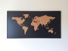 Cork Board World Map  negro