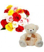 You can choose a Celebrations gift pack from the family of FlowerzNCakez that contains 15 Mixed Roses arrangement with a small teddy bear.