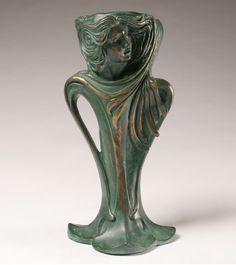 Art Nouveau Style Patinated Bronze Figural Vase