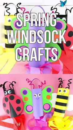 Cute Insect Windsocks for Kids to Make | Butterfly, Ladybug and Bee Craft Make these cute spring windsock crafts with preschoolers and elementary age children to celebrate spring! Learn how to make three different insects: A butterfly, ladybug and bee. Visit our website for more fun and easy spring crafts for kids. #iheartcraftythings<br> Make these cute spring windsock crafts to celebrate spring! Learn how to make three insects: A butterfly, ladybug and bee. Fun & easy spring crafts for… Spring Crafts For Kids, Easy Crafts For Kids, Toddler Crafts, Preschool Crafts, Easter Crafts, Kids Diy, Creative Crafts, Crafts With Babies, Spring Craft Preschool