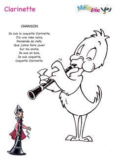 Découvrez le dessin clarinette de Mélopie. Votre enfant découvrira comment on porte l'instrument de musique, comment il sonne et même comment il est fait.