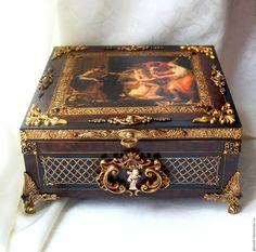 """Купить Ларь """"Амур и Психея"""" - разноцветный, большая шкатулка, античность, шкатулка для украшений, шкатулка для мужчины"""
