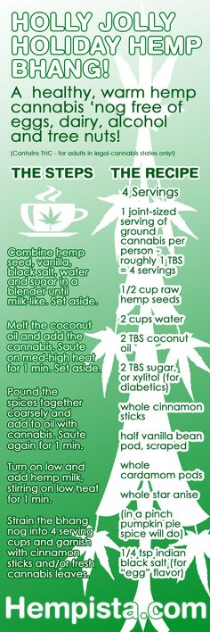 Ho Ho Ho Happy Cannabis Hemp Bhang! A delicious alcohol alternative this holiday season in legal cannabis states! Make this THC-free too by omitting the cannabis for an all around great allergen-free holiday nog recipe for the whole family.