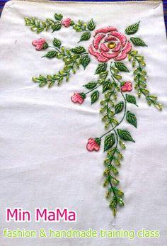 my creation bead embroidery design Kurti Embroidery Design, Bead Embroidery Patterns, Hand Work Embroidery, Flower Embroidery Designs, Embroidery Fashion, Ribbon Embroidery, Embroidery Suits, Floral Embroidery, Embroidery Stitches