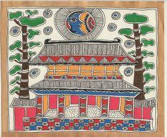 Madhubani/Mithila Painting - black and white also available Madhubani Art, Madhubani Painting, Colorful Drawings, Art Drawings, Saree Painting, Painting Styles, Indian Folk Art, Letter Patterns, Fashion Painting