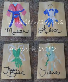 Disney Princesses with my Girls' hands and feet! I can't wait to frame and hang in the playroom! Disney Princess Activities, Disney Princess Crafts, Disney Crafts, Disney Princesses, Babysitting Activities, Craft Activities For Kids, Crafts For Kids, Foot Prints, Baby Prints