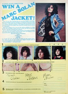 WIN A MARC BOLAN JACKET!still not as crazy as the ad for feminine deodorant that you get Marc Bolan poster with purchase.it's a pin up somewhere on this thread Electric Warrior, Ian Hunter, Mott The Hoople, Rock And Roll Fantasy, Mick Ronson, Guy Bourdin, The Stooges, The Thin White Duke, Marc Bolan