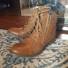 Ankle boots Never worn. Double zipper on front. Not real leather Shoes Ankle Boots & Booties