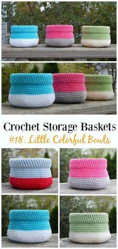 Little Colorful Bowls Crochet: FREE Pattern - Storage #Basket; Free #Crochet; Patterns