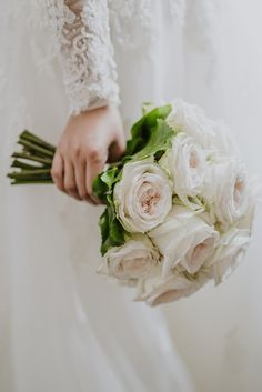 Elegant rose wedding bouquet: http://www.stylemepretty.com/destination-weddings/italy-weddings/2017/03/07/a-fashion-designer-weds-at-villa-aurelia-in-rome/ Photography: Gianluca Adovasio- http://www.gianlucaadovasio.it/