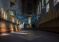 Blue cord criss-crosses the interior of an abandoned church in Philadelphia.