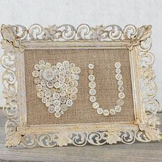 #vintage frame #burlap #MOP buttons and a creative mind...