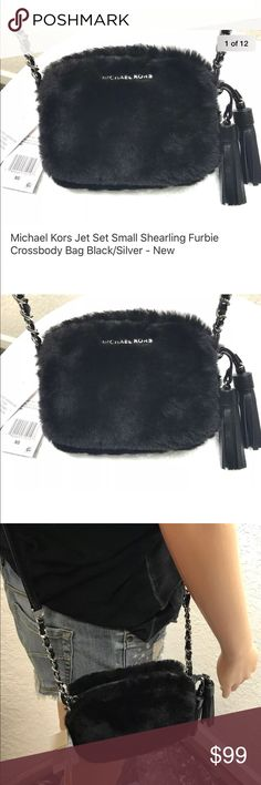 Michael Kors Jet Set Chain Shearling Crossbody Bag Michael Kors Jet Set Small Shearling Furbies Chain Crossbody Bag Black/Silver - New  Small will fit the IPhone 7/8 NON PLUS SIZED MODELS  Style # 32F6STVC5F  6.5 X 5 X 2   Spanish Shearling imported from Spain  Chain Adorned Strap with leather weaving  Dual Leather Tassels  Silver Hardware  Top Zip Closure  Logo Liner with a slip pocket Michael Kors Bags Crossbody Bags