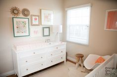 Nursery in shades of coral and peach, with touches of gold and teal // designed by Emerson Grey Designs via Project Nursery