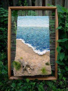 Dimensional Weaving - Martina Celerin fiber art: Bikes beaches and strawberry shortcake Weaving Textiles, Weaving Art, Weaving Patterns, Tapestry Weaving, Loom Weaving, Hand Weaving, Driftwood Frame, Loom Craft, Weaving Wall Hanging