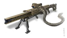Concept of sci-fi rifle - U12 This is concept of sci-fi rifle. There are not bullets. Rifle has double barrel. Magazine - remote battery pack is engaged in rear section. Technolog...