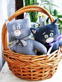 recycled craft kitten dolls made of old jeans