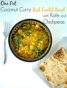 Vegan One Pot Coconut Curry Lentil Bowl with Kale and Chickpeas.  Super quick and easy recipe.  Great for weeknight dinner!