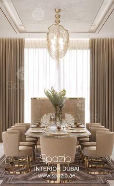 Luxury living room interior design and decor ideas. The interior design by Spazio designers in Dubai. Elegant Dining Room, Luxury Dining Room, Dining Room Design, Luxury Living, Luxury Dining Tables, Living Room Modern, Interior Design Living Room, Living Room Decor, Living Rooms