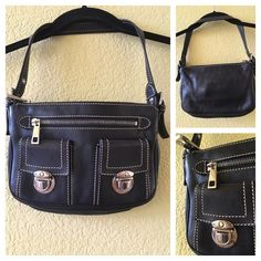 """Marc Jacobs Sophia Marc Jacobs black leather (not patent leather) Sophia shoulder bag with silver tone hardware. The strap is adjustable. This bag is in excellent condition with no noticeable scratches or stains. It features contrasting stitching, three front pockets, and a single interior pocket with a zip closure top.                                                         Shoulder Strap Drop 8"""", Height 6"""", Width 9"""", Depth 1.5"""" Marc Jacobs Bags Mini Bags"""