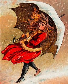 """""""This great graphic is from a victorian alphabet book. The letter for this picture is U for Umbrella 'to keep off the snow.'"""" 