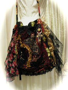 Bohemian Gypsy Bag, black slouchy handmade fringe beads lace embellishment. $165.00, via Etsy.
