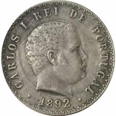 1892 Portugal 500 Reis King Carlos I Antique Silver Commemorative Coin