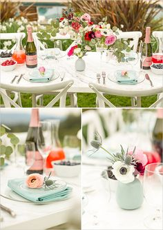 pink and blue reception table details @weddingchicks