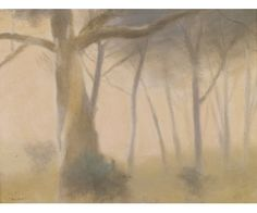 "Clarice Beckett, Australian artist, Casterton 1887 - Melbourne Australian Australian Tonalism (less interest in colour, more in tone and proportion). ""Towards Evening"" Australian Painting, Australian Artists, Landscape Art, Landscape Paintings, Tree Images, Tree Art, Painting Inspiration, Female Art, Cool Art"