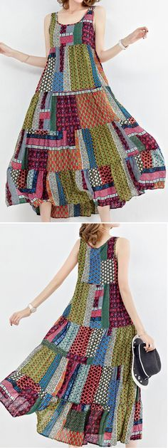 US$25.20 Gracila Bohemian Patchwork Sleeveless O-Neck Long Maxi Dresses