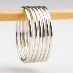 Custom Classic Smooth Stacking Rings in Sterling Silver - Create Your Own Set ** Quickly view this special product, click the image : Handmade Gifts