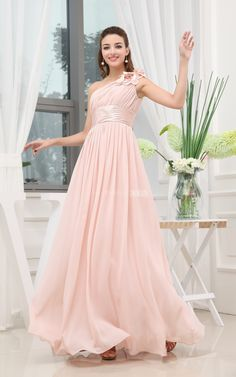 Elegant Chiffon Long Bridesmaid Dress With Single Strap and Ruched Waist. #long #pink #DorisWedding.com