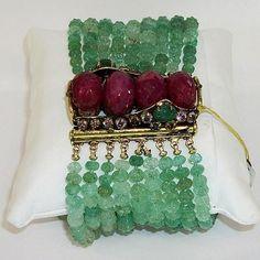 Iradj Moini Multi Strand Green Bracelet w Emerald, Citrine, Amethyst | eBay