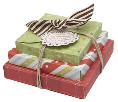 Stacked Christmas boxes made quick and easy with the Cricut® Art Philosophy Collection from #CTMH