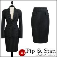 NEXT UK12/10 US8/6 BLACK PINSTRIPE PENCIL SKIRT SUIT WOMENS LADIES SIZE #Next #SkirtSuit #Business