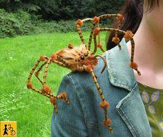 Anfertigung Auf Bestellung: Spinne Figur Puppe Halloween posierbar braun Kunstfell Plüsch Draht handgemacht ooak art doll Jerseydays
