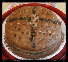 Torta ciobar, pere, gocce di cioccolato e amaretti
