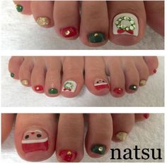 27 holiday fun designs for christmas toe nails! - be modish Halloween Toe Nails, Fall Toe Nails, Cute Toe Nails, Summer Toe Nails, Toe Nail Art, Winter Nails, Pretty Nails, Acrylic Nails, Christmas Toes