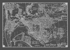 HD Decor Images » 1949 Vintage Map of Downtown San Diego Grunge Map Print Poster     1936 San Diego Street Map Medium Gray Vintage Print Poster by TheMapShop on  Etsy https   www etsy com listing 182843624 1936 san diego street map medium