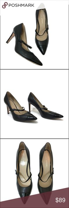 "Via Spiga 'Cindee' Pointy Cap Toe Pumps A classically shaped pump features a cute mary-jane strap and patent cap toe for trend-right charm.  Adjustable strap with buckle closure.  Salon Shoes.  Additional details:    🔹 Color: Black  🔹 Fabric: Leather upper | man made lining  🔹 Size: 8M  🔹 Heel Height: 3 1/2""  🔹 Condition:  Pre-loved 