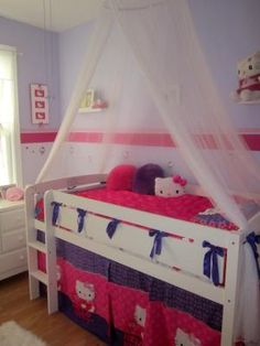 Obviously not with Hello Kitty and a canopy for little boys.... But the underneath would make a cool fort!