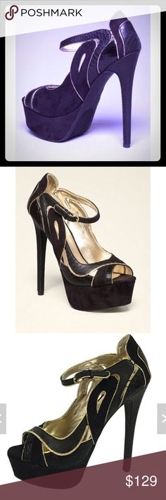 "Bebe Clarissa Gorgeous and glam peeptoe pumps grabbing glances with chic faux suede and reptile-embossed upper, plus high stiletto heels. Slim buckle-strap closure.   Synthetic upper, synthetic outsole Heel height: 5.91"" (15 cm), platform height: 1.69"" (4.3 cm) bebe Shoes"