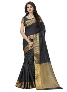 Gracious Black Silk Jacquard Weaving Indian Designer Saree At Best Price By UttamVastra - Try Something New Today
