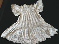 Elaborate Antique Victorian French BEBE Jumeau Fancy Lace Doll Child's Dress
