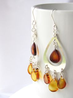 Mexican Amber Earrings | Chandelier | Chiapas Bazaar | Handmade Mexican Blouses, Accessories & Home Decor from Rural Artisans