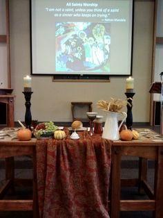 Fall communion table on All Saints Sunday. All Saints Day, Church Design, Altar Decorations, Church Building, Fall Table, First Communion, Fall Harvest, Home, Worship Ideas